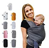 Fastique Kids Tragetuch - elastisches Babytragetuch für Früh- und Neugeborene inkl. Baby Wrap Carrier Anleitung - Farbe grau