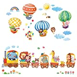 Decowall DA-1406 Zug und Heißluftballons Autos Flugzeuge Tiere Wandtattoo Wandsticker Wandaufkleber Wanddeko für Wohnzimmer Schlafzimmer Kinderzimmer
