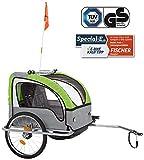 FISCHER Kinder Fahrradanhänger Komfort mit Federung Tüv/GS Geprüft, Grün/Anthrazit
