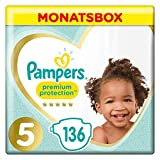 Pampers Premium Protection Windeln, Gr. 5, 11-16 kg, Monatsbox, 1er Pack (1 x 136 Stück)