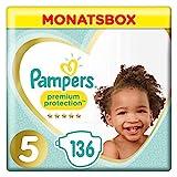Pampers Premium Protection Windeln, Gr.5, 11-16kg, Monatsbox, 1er Pack (1 x 136 Stück)