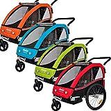 Veelar Sports 2 in 1 Kinderanhänger Fahrradanhänger Anhänger mit Buggy Set Jogger BT502-D02 grün