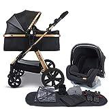 Pixini Kinderwagen gold/schwarz (Kinderwagen 3in1 mit Babyschale und Zubehörpaket)