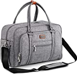 Welavila Wickeltasche, Wickeltaschen für Mama und Papa, mit Wickelauflage und isolierten Taschen, umwandelbare Reisetasche Messenger, grau