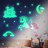 Leuchtsterne Selbstklebend Wandtattoo Kinderzimmer Mädchen Einhorn Wandsticker Sternenhimmel Aufkleber Prinzessin Schlos Leuchtaufkleber Leuchtsticker Babyzimmer Deko für Mädchen Jungen Geschenke