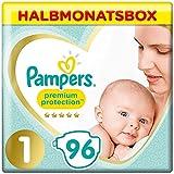 Pampers Premium Protection Windeln, Gr. 1, 2-5kg, Halbmonatsbox (1 x 96 Windeln), Pampers Weichster Komfort Und Schutz, 2kg-5kg Halbmonatsbox