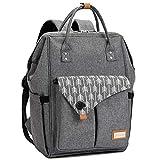 Lekebaby Baby Wickelrucksack Wickeltasche mit Wickelunterlage Multifunktional Große Kapazität Babytasche Reisetasche für Unterwegs, Grau