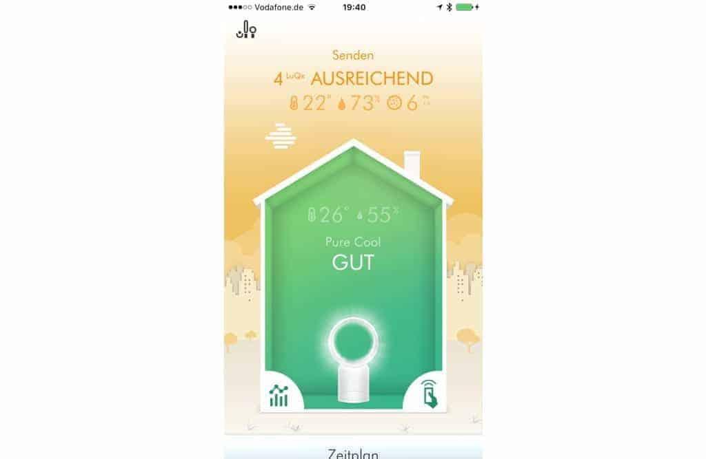 gute Ventilator app ist übersichtlich und informativ
